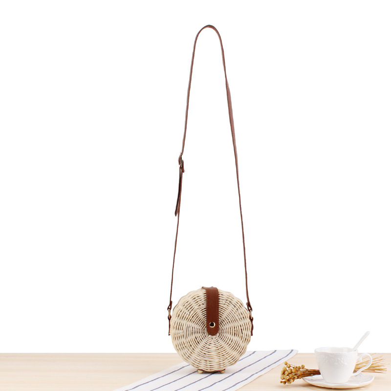 Fashion Summer Bags for Women 2019 Beach Round Handbag Retro Rattan  Crossbody Bohemian Straw Hollow Out