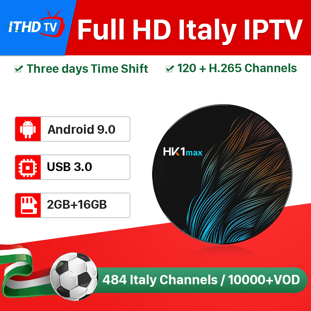 Italy IPTV France Arabic Turkey Portugal IP TV ITHDTV HK1 MAX Android 9.0 2G+16G USB3.0