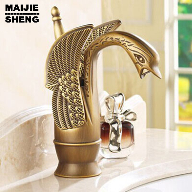 Swan style Antique bronze Brass Faucet Bath Basin Mixer tap Bathroom ...