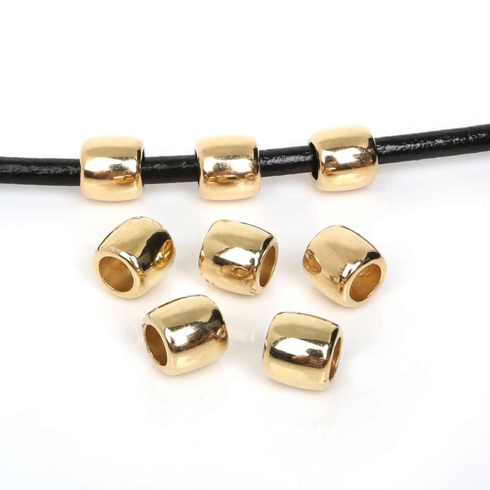 30 unids/lote 11x11mm cuentas espaciadoras de color dorado/plateado cuentas de plástico CCB con agujero grande para hacer joyas DIY