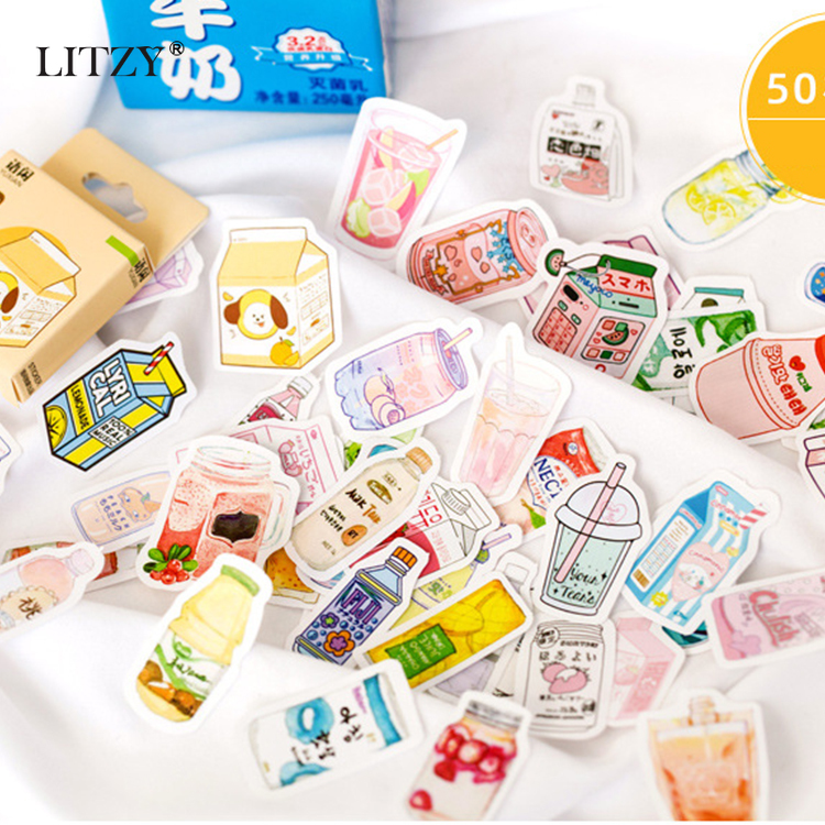50Pc/Box Cute Drink Stickers Paper Adhesive Kawaii Stickers Planner Scrapbooking Stationery Diary Photos Albums Stickers Gift