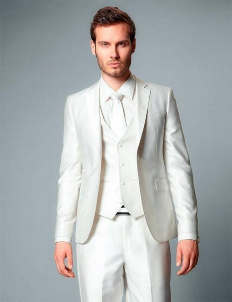 Beautiful White Wedding Suit For Groom Festooning - All Wedding ...