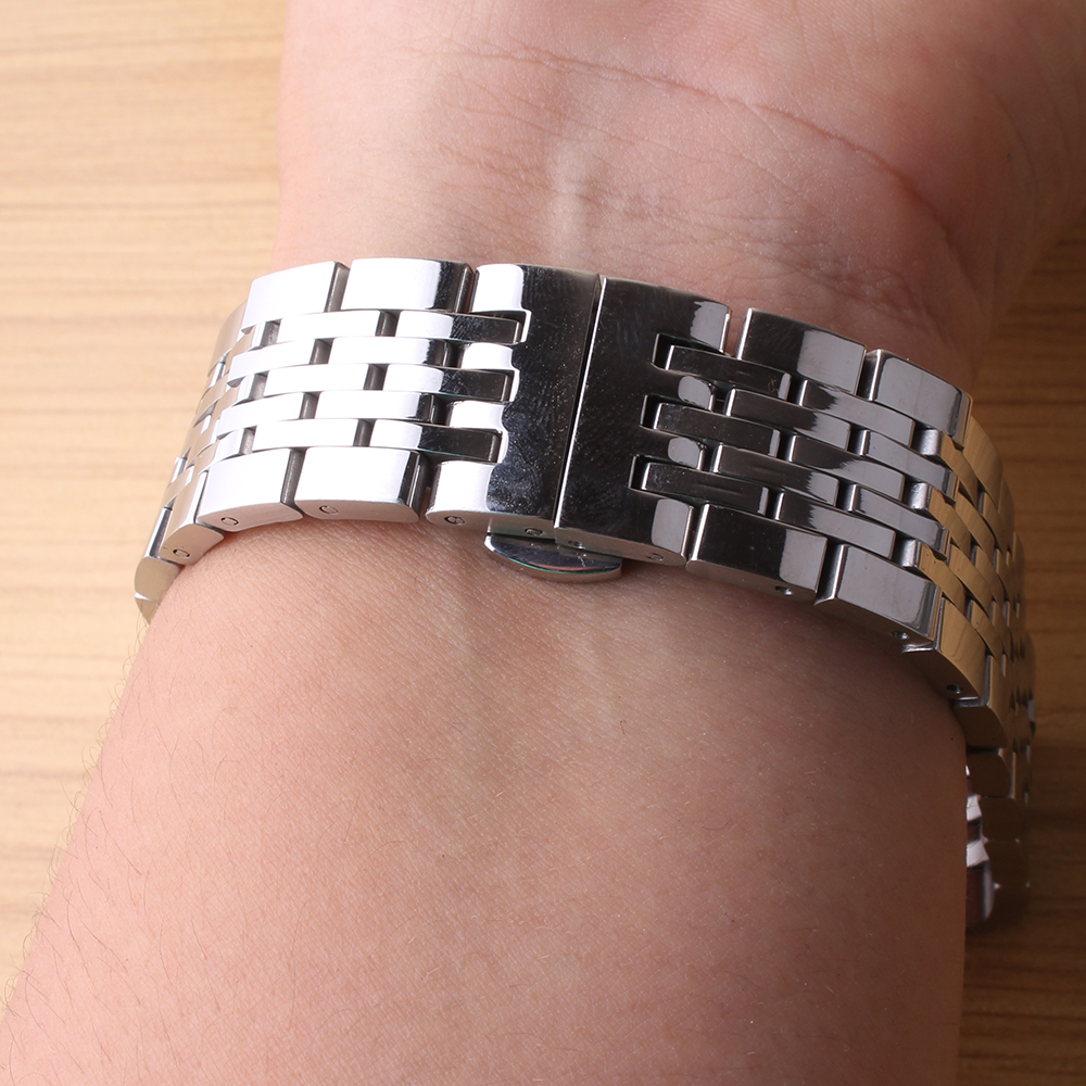 18mm 19mm 20mm 21mm New Silver Watchband Polish Solid Links high quality Stainless Steel Watch Band Strap Bracelet fast delivery