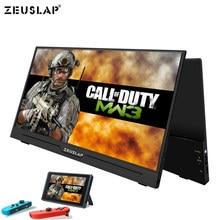 ZEUSLAP kolacja Ultralight 1080P + HDR przenośny monitor 1920*1080P ekran IPS dla PS3 PS4 XBOX wyświetlacz samochodowy PC dla przełącznika