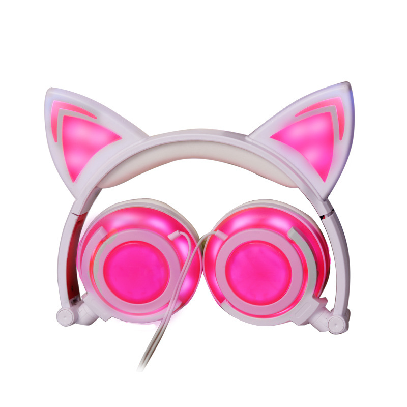 SUPOLOGY Cat Ear Headphones with LED Light Cute Cat Ear Flashing Glowing Headset for Girls Foldable Gaming Headset for PC iPhone lobkin cat earphones children s headphones flashing glowing cosplay fancy over ear gaming headset with led light for girls kids