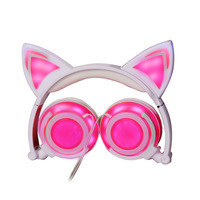 Cat Ear Headphones With LED Light Cute Cat Ear Flashing Glowing Headset For Girls Children Foldable