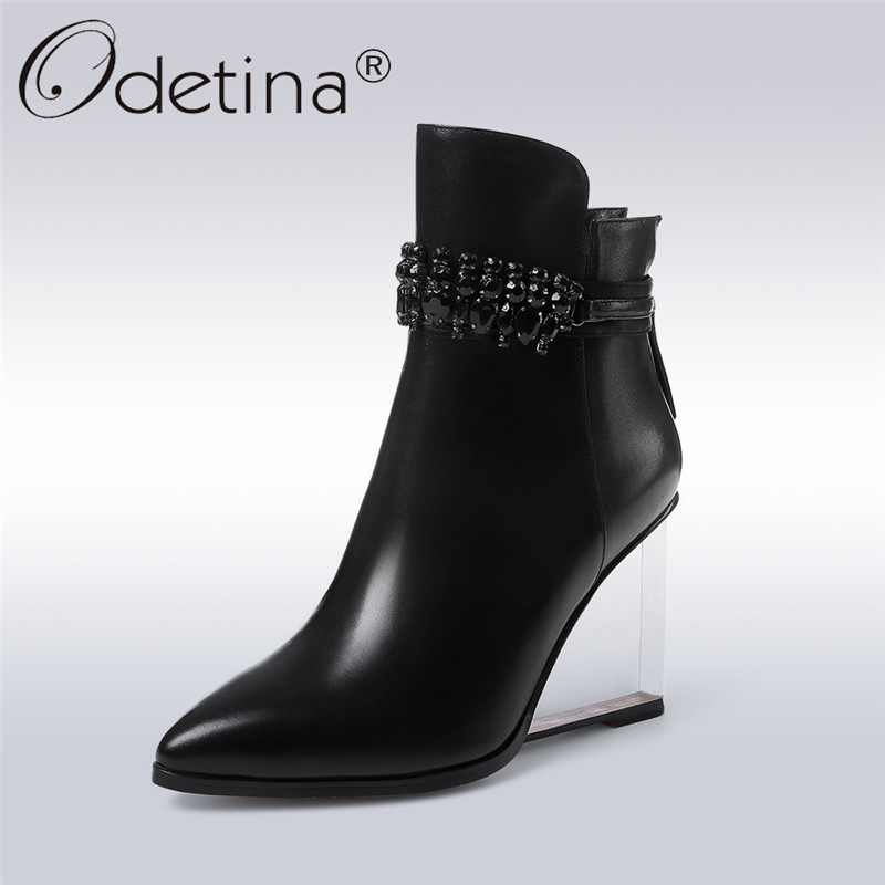 Odetina 2017 New Fashion Genuine Leather Wedge Ankle Boots Pointed Toe   Transparent High Heels Ladies Boots with Crystal WinterOdetina 2017 New Fashion Genuine Leather Wedge Ankle Boots Pointed Toe   Transparent High Heels Ladies Boots with Crystal Winter