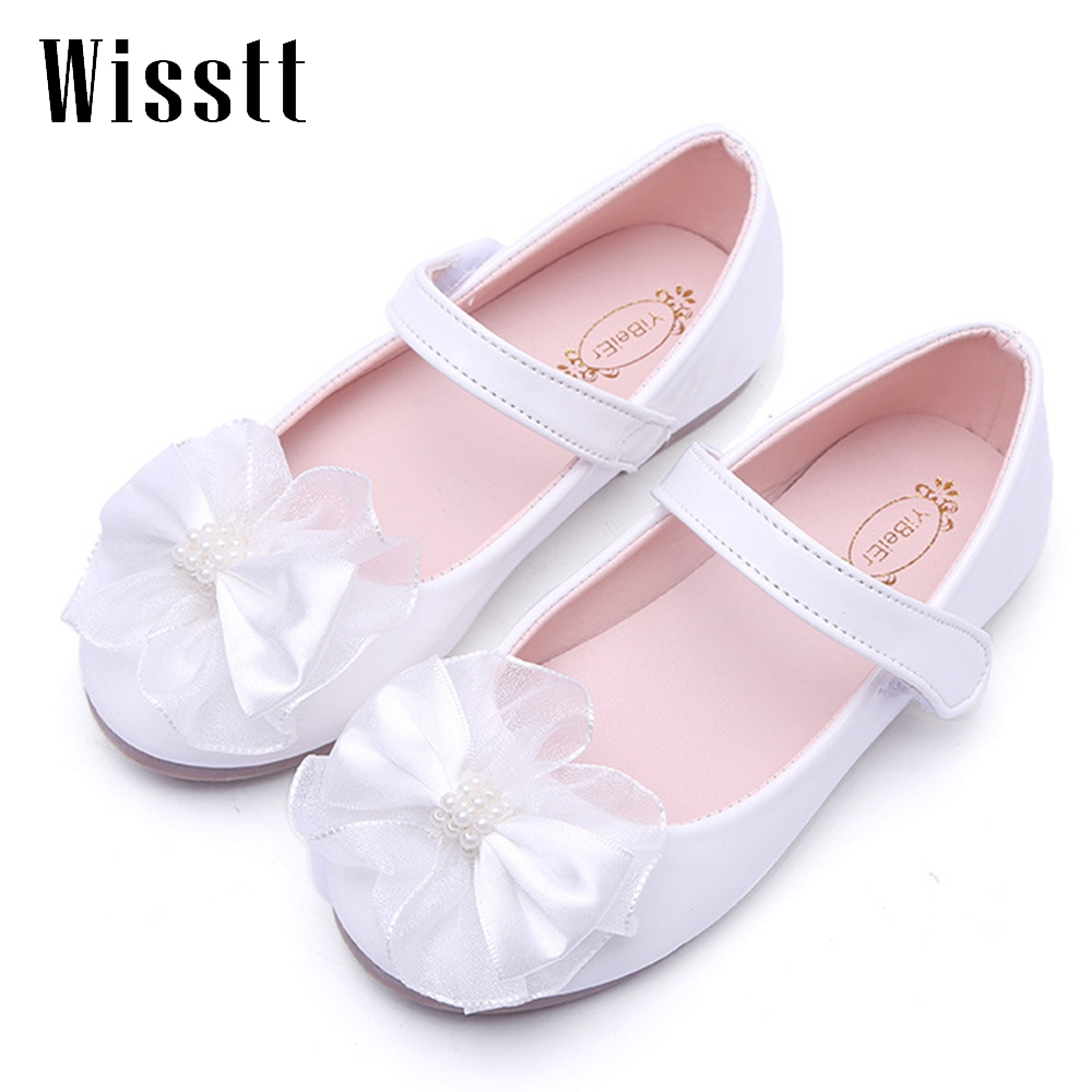 Girls Shoes with Pearl bowknot Fashion Princess Slip-on Children Flat Shoes For Girls Shoes