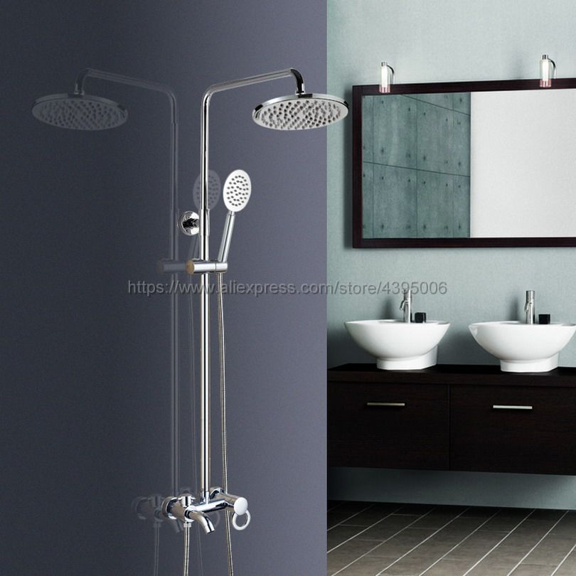Wall Mounted Bathroom Shower Faucet Mixer Taps Single Handle with Hand Held Shower Chrome Finish Bcy337 chrome finish bathroom shower faucet adjustable water taps wall mounted