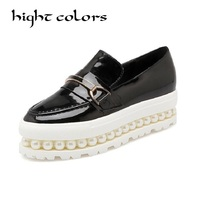 Pearl Women Summer Platform Shoes Creepers Loafers Moccasins Patent Leather Slip On Chaussure Femme White Flats
