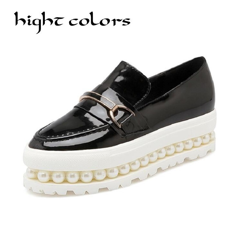 Pearl Women Summer Platform Shoes Creepers Loafers Moccasins Patent Leather Slip On Chaussure Femme White Flats Shoes Woman minika women shoes summer flats breathable lace loafers platform wedges lose weight creepers platform slip on shoes woman cd41