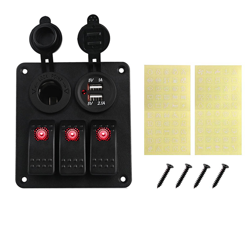 Image 2 - LED 3 Gang Rocker Switch Panel Power Socket 3.1A Dual USB Wiring Kits and Decal Sticker Labels DC12V 24V for Marine Boat Car-in Car Switches & Relays from Automobiles & Motorcycles