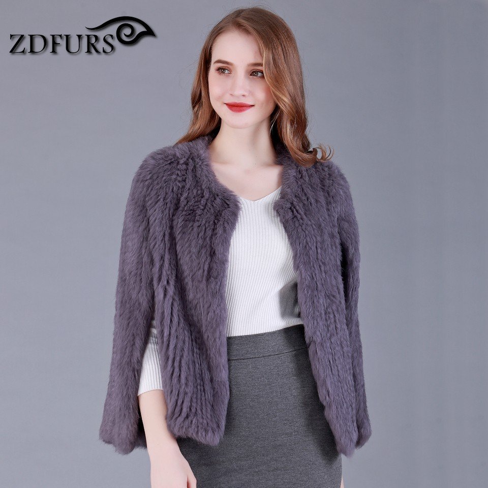 ZDFURS *new style hand made knitted rabbit fur short cape with vertical arm openings rabbit fur jacket ZDKR-165018