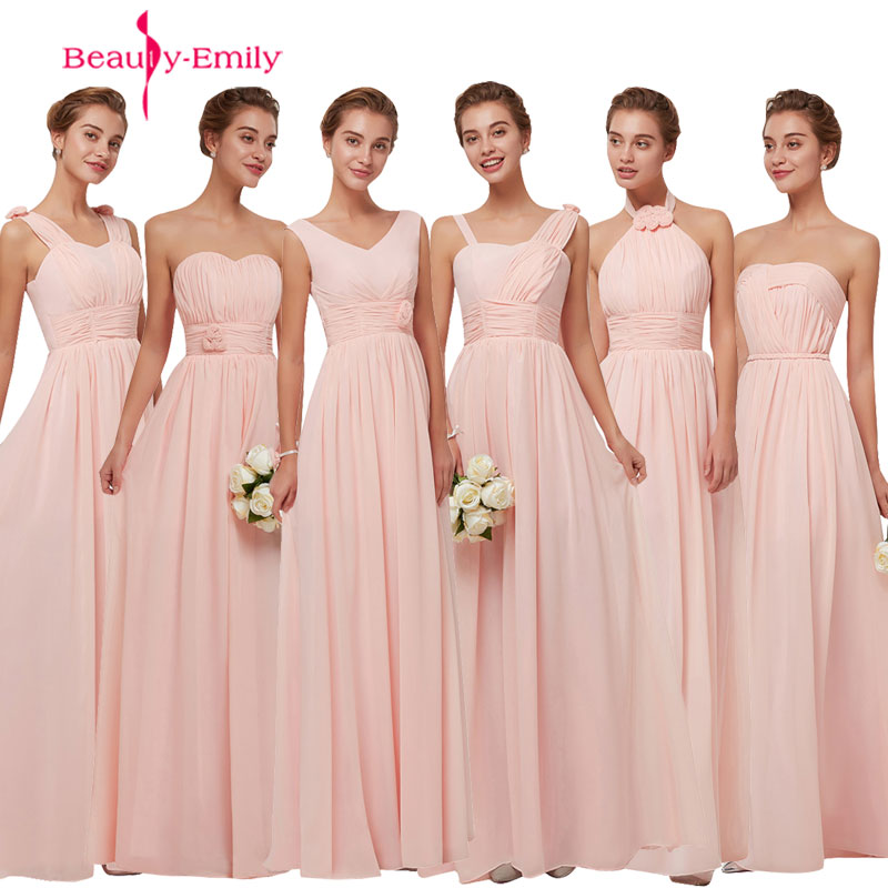 Beauty-Emily Simple Long Chiffon Blush Pink Bridesmaid Dresses 2019 A-Line Vestido De Festa De Casamen Formal Party Prom Dresses