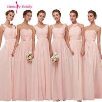 Beauty Emily Simple Long Chiffon Blush Pink Bridesmaid Dresses 2018 A Line Vestido De Festa De Casamen Formal Party Prom Dresses