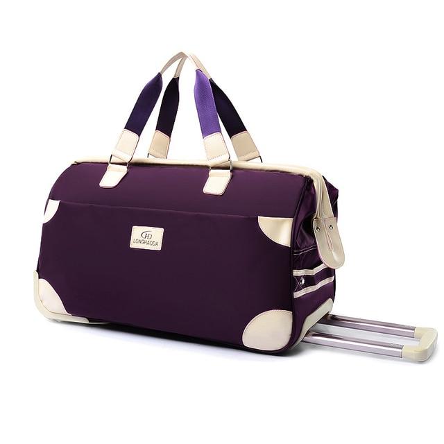 22inch women s large capacity travel bag handbag roller luggage pull box  folding trolley oxford fabric fashion 7ff08026d