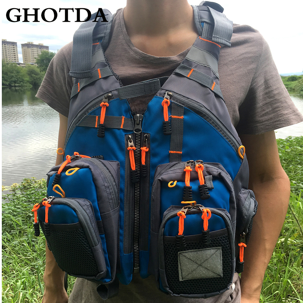 GHOTDA Outdoor Fishing Vest Hunting Fish Life Safety Jackets Multi-pockets multi pockets fishing hunting mesh vest mens outdoor leisure jacket