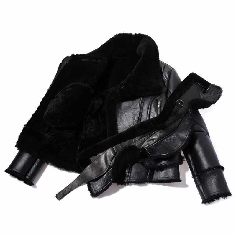 2019 nuevo chaqueta de aviador de lana de cordero de invierno para hombre, chaqueta de piel de aviador con forro de piel, chaqueta de cuero de esquilador, chaqueta de bombardero de vuelo ajustada