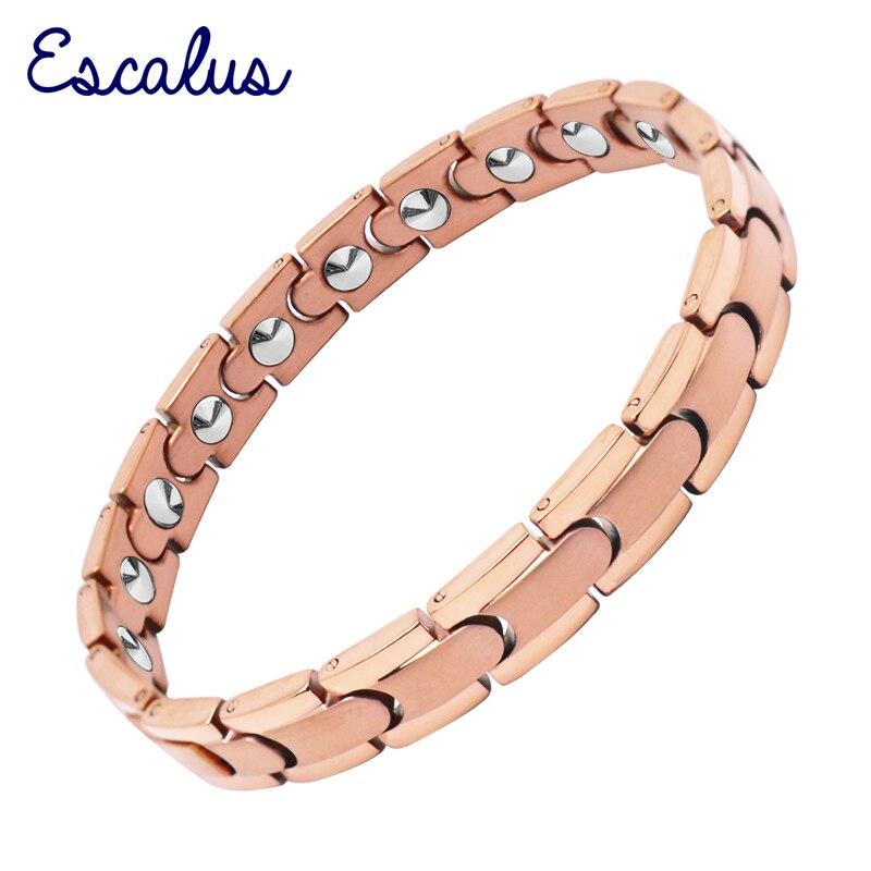 Escalus Simple 18 pièces 99.9999% pleine haute Pure solide Germanium femmes Bracelet soins de santé couleur or Rose charme titane Bracelets