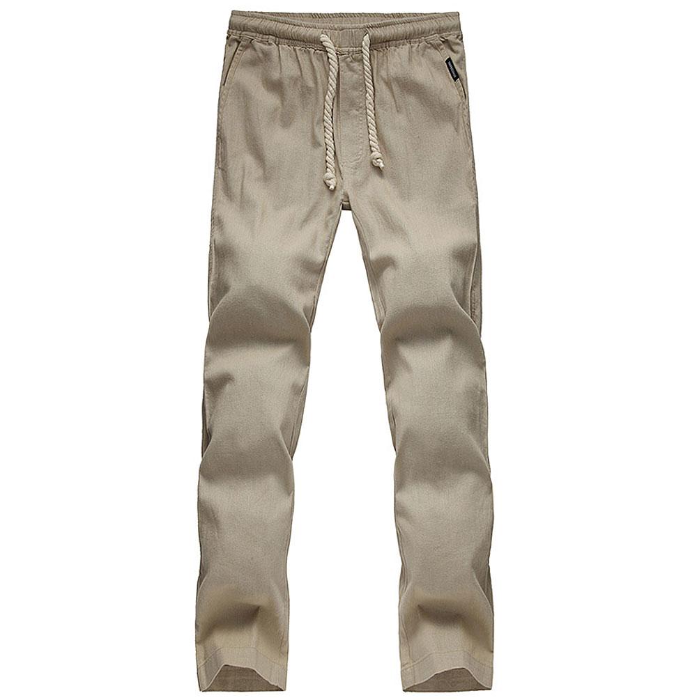 2017 Летние новые мужские Досуг льняные штаны мужские хлопок дышащая свободные льняные брюки льняные брюки пункт D160