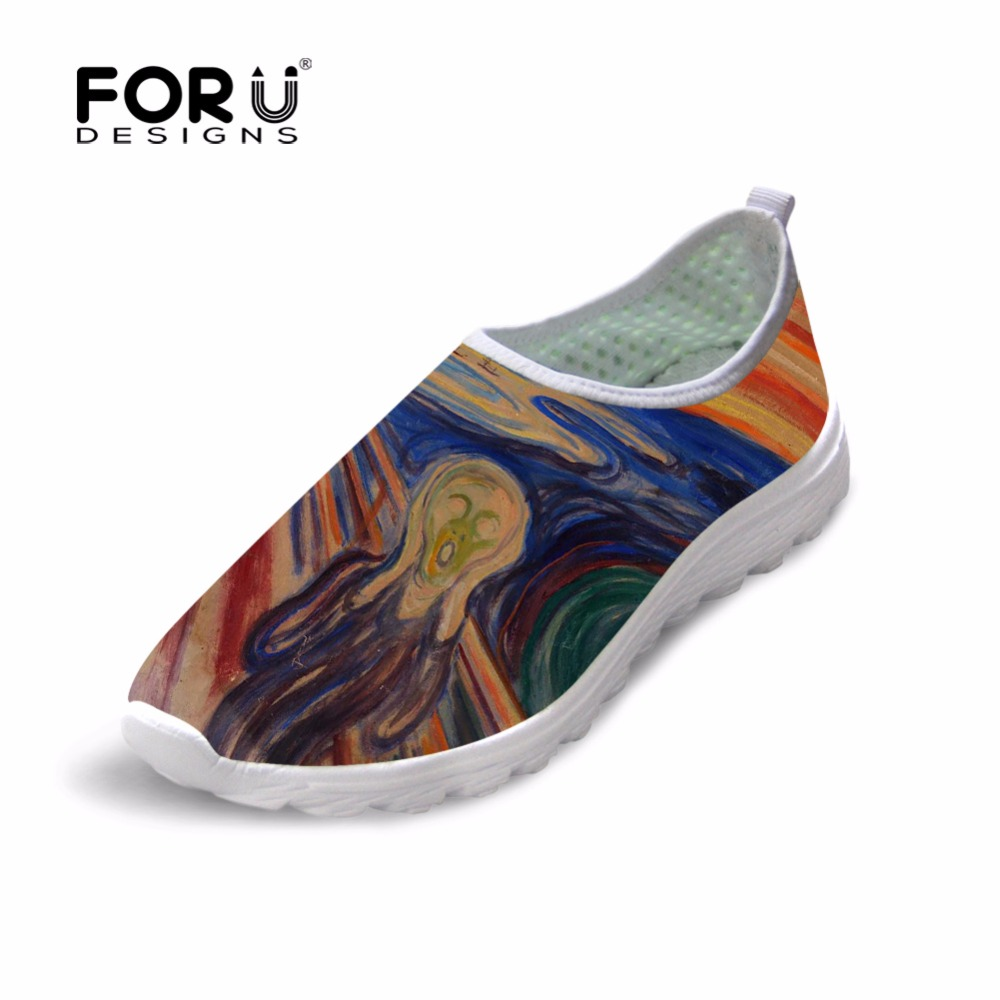FORUDESIGNS 2018 Newest Women Spring Mesh Flats Shoes Fashion Painting Printed Women Breathable Beach Water Shoes Female Loafers free shipping candy color women garden shoes breathable women beach shoes hsa21