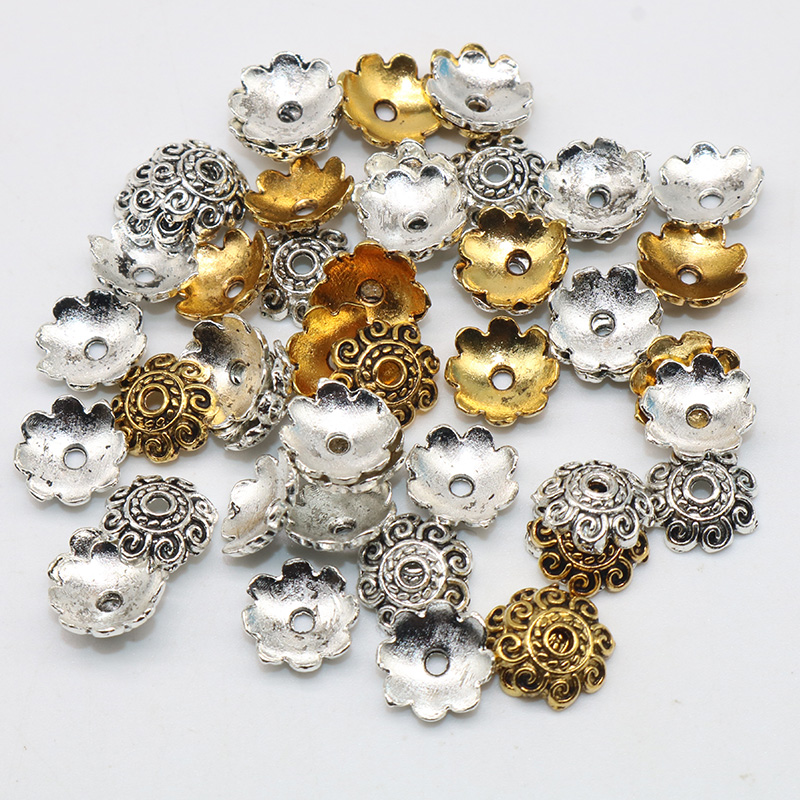 8mm 100pcs/lot Wholesale Metal Bead Caps Mixed Color Tibetan Silver Loose Beads Plated Flower Beads Zinc Alloy End Caps Charms