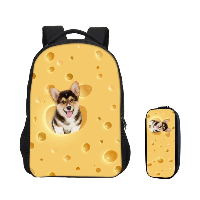 2 pièces/ensemble Hamsters chat fromages impression 3D mignon Kawai sacs à dos pour filles garçons porte-crayon adolescents enfants sac d'école Bookbag