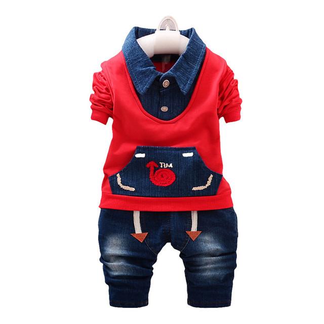 Primavera outono Meninos Roupa Do Bebê Conjuntos de Roupas Meninos Da Criança de Manga Comprida T-shirt + Calça Jeans Crianças Agasalho Esporte Terno crianças Roupas
