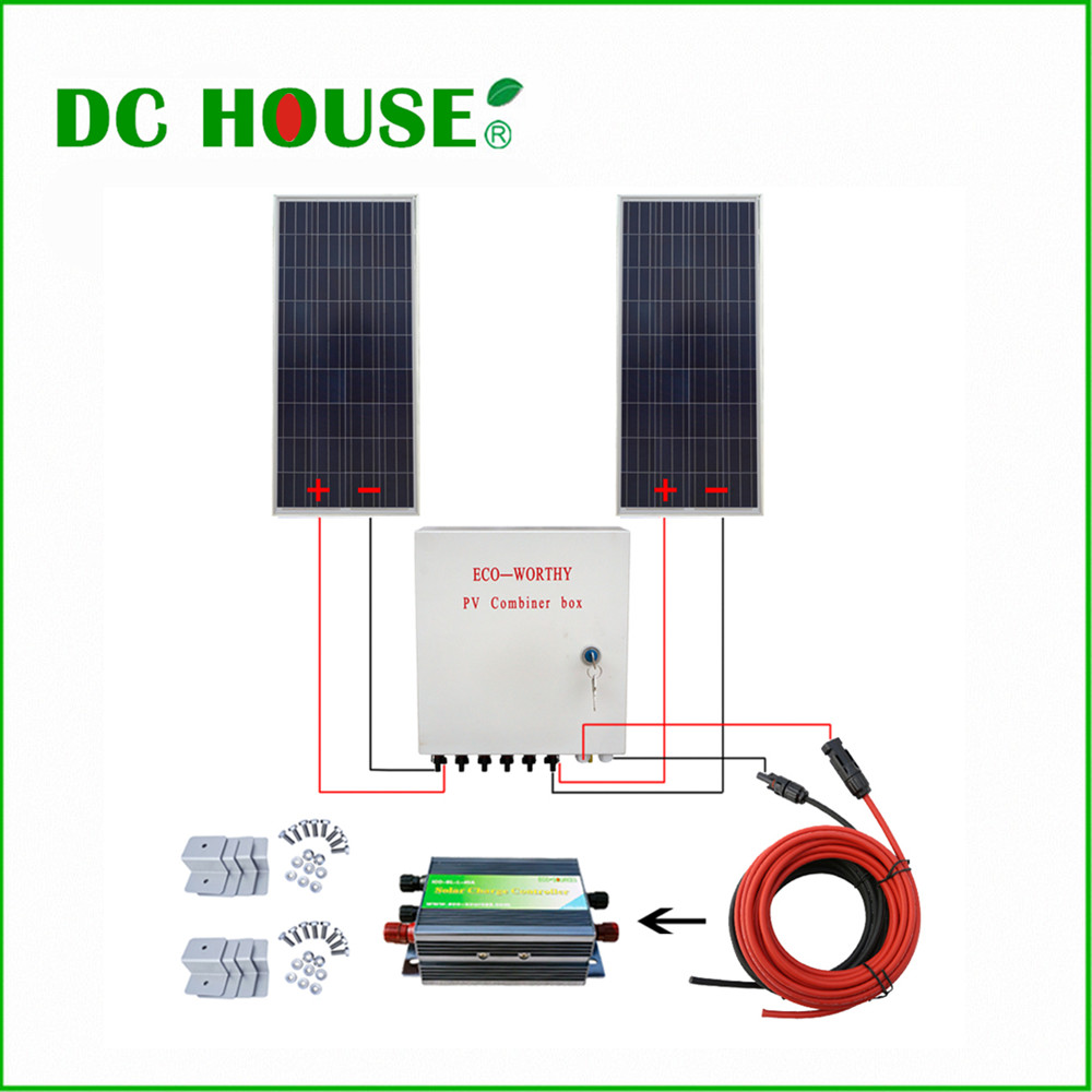 USA UK Stock 300W 2x150W Poly Solar Panel 12V off Grid Solar System 45A Solar Controller Combiner Box for RV Home