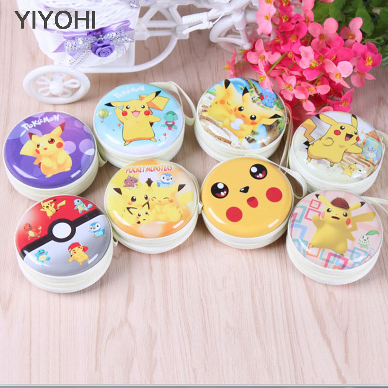 YIYOHI Kawaii Earphone Box Bag Pikachu Mini Bag Cartoon Pokemon Go Coin Purse kids Girls Wallet Wedding Gift Wedding candy box anime cartoon wallets bifold game pokemon go pikachu wallet for teenager women men pocket monster purse coin purses holders