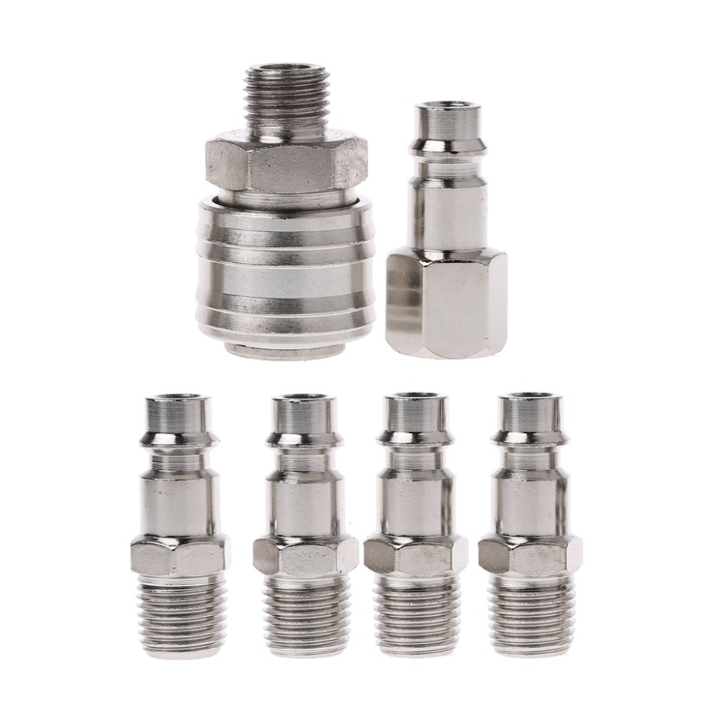 Nickel Steel 6 Pcs EURO Air Line Hose Compressor Fitting Connector Quick Release Set 1/4 BSP 6 pcs euro air line hose compressor fitting connector quick release set 1 4 bsp j11 dropshipping