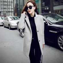 Sobretudo Feminino 2016 Autumn Winter Loose Warm Wool Coats Women Trench Female Medium-Long Outerwear Casual Big size XL Jacket