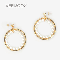 Bohemia Woman Statement Earring White Pearl Circle Drop Earring 14k Yellow Gold Color XEEWOOX Designer Fashion Creative Gift