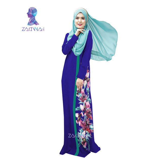 26 New style in dubai women flower print robe  spliced robe muslim dress women clothing robe turkish abaya vestidos
