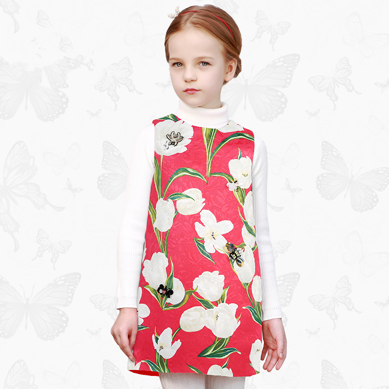 Toddler Girls Dresses Children Clothing 2017 Brand Princess Dress for Girls Clothes Fish Print Kids Beading Dress 51 endearing fish scale print spaghetti strap mini dress for women