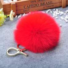 15cm Fox Fur Pom pom Fluffy Keychain Keyring Gold Bag Charm Pendant Pompoms Fur Ball Key Chains Key holder Ornament Women Gift