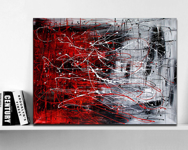 Hand Painted Original Abstract Modern Art Contemporary Painting Red Black And White Color Wall Decor