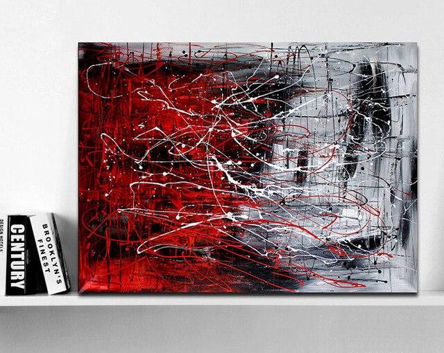handgemalte urspr ngliche abstrakte moderne kunst zeitgen ssische malerei rot schwarz und wei. Black Bedroom Furniture Sets. Home Design Ideas