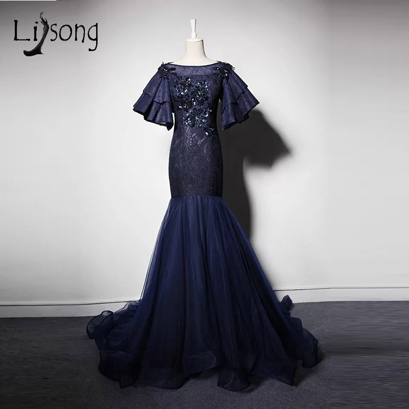 130c38860b8 Abendkleider 2017 Chic Mermaid Evening Dresses Dark Navy Blue Long Sequined  Floral Evening Gowns Half Puffy