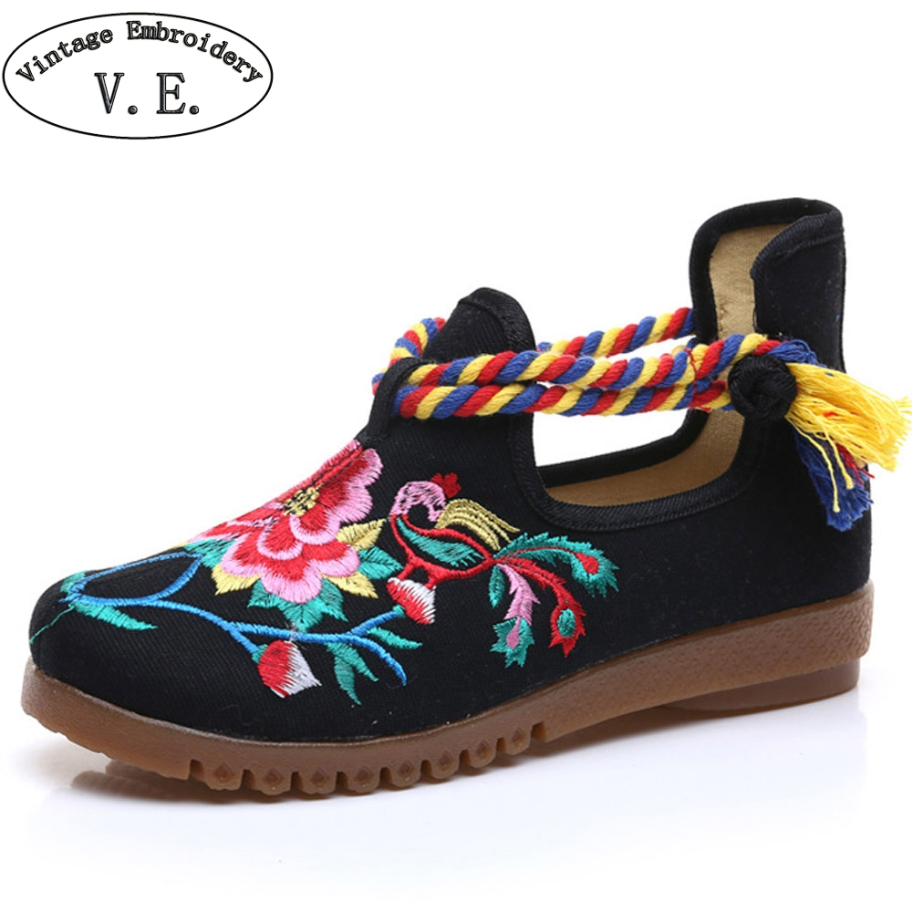Vintage Shoes Women Canvas Flats Floral Embroidered Ladies Comfortable Cotton Platforms Shoes Woman Zapato Mujer Unique Strap veowalk extreme low top women casual linen cotton loafers handmade vintage ladies canvas walking hemp flat shoes zapato mujer