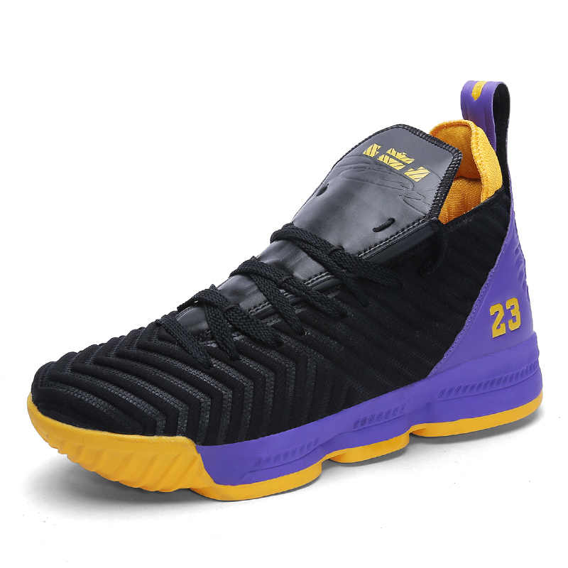Hommes femmes chaussures de basket Couple Lebron basket-ball baskets amorti entraînement basket-ball bottes respirant en plein air Sport chaussures