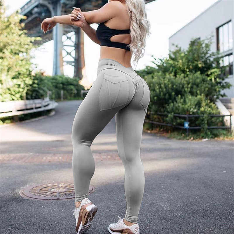 5d4361fe8fd79 Women Fitness Leggings High Waist leggins Push Up Leggings Female Workout  Leggings Feminina Solid Pocket Legging