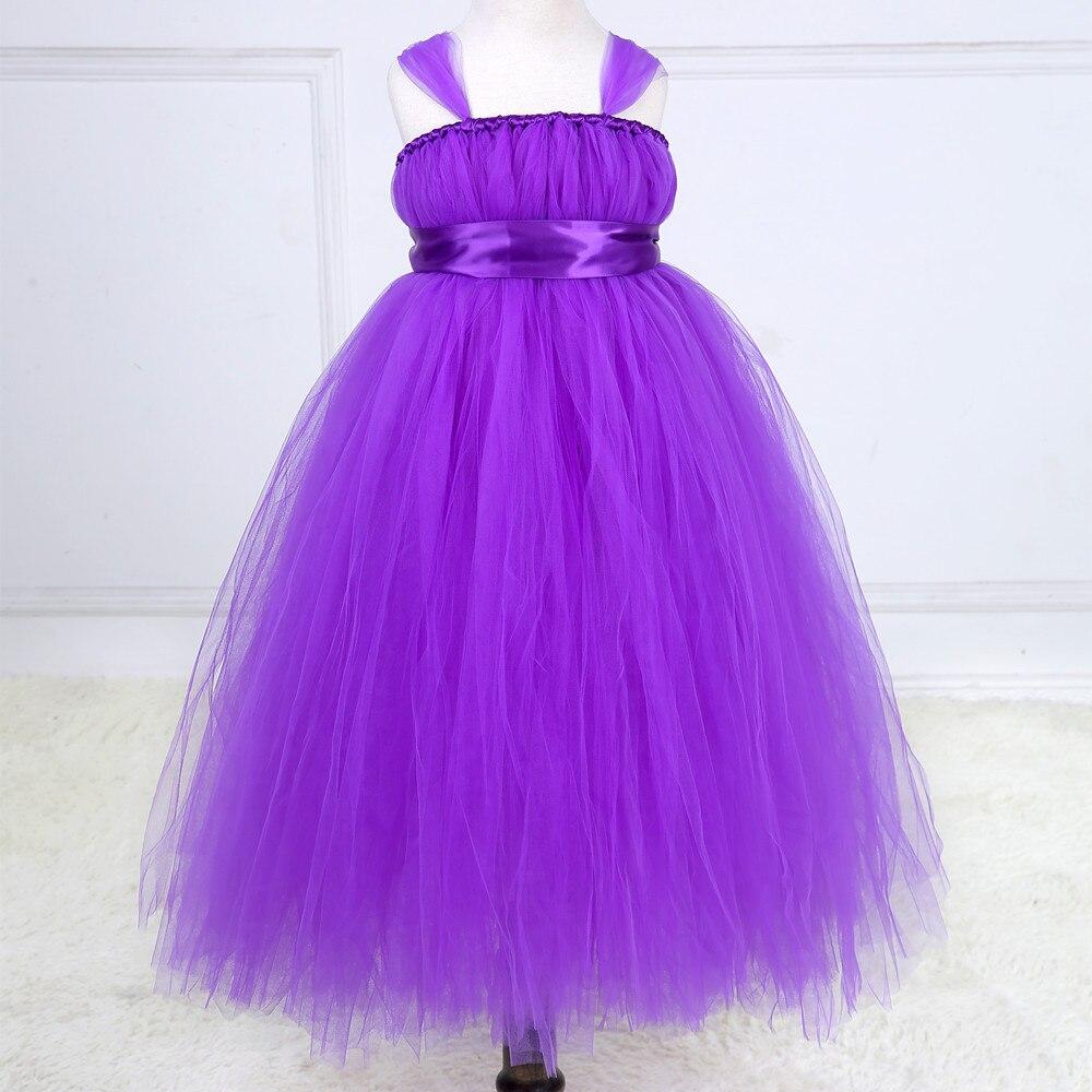 Nueva princess tutu púrpura gris de dama de honor niña de las flores ...