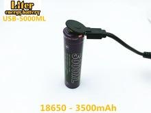 10PCS Liter energy battery USB 18650 3500mAh 3.7V Li-ion 5000ML Rechargebale + wire