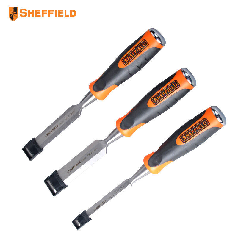 SHEFFIELD S080301 3pcs Woodworking Chisel Set Woodworking Tools Chrome Vanadium Steel Striking Wearable  chrome vanadium steel chisel chisel punch 6 piece punching bench chisel combination