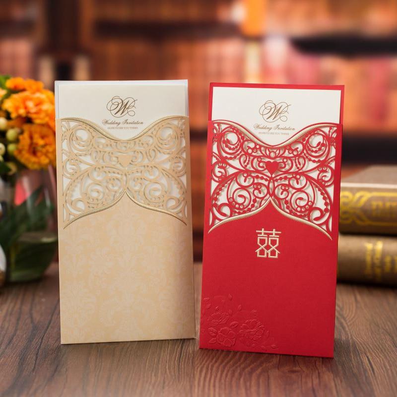 50 ชิ้น/ล็อตทองสีแดงตัดเลเซอร์คำเชิญการ์ดแนวตั้งบันทึกวันที่เจ้าสาวแต่งงานคำเชิญ Party Supplies-ใน การ์ดและบัตรเชิญ จาก บ้านและสวน บน   1