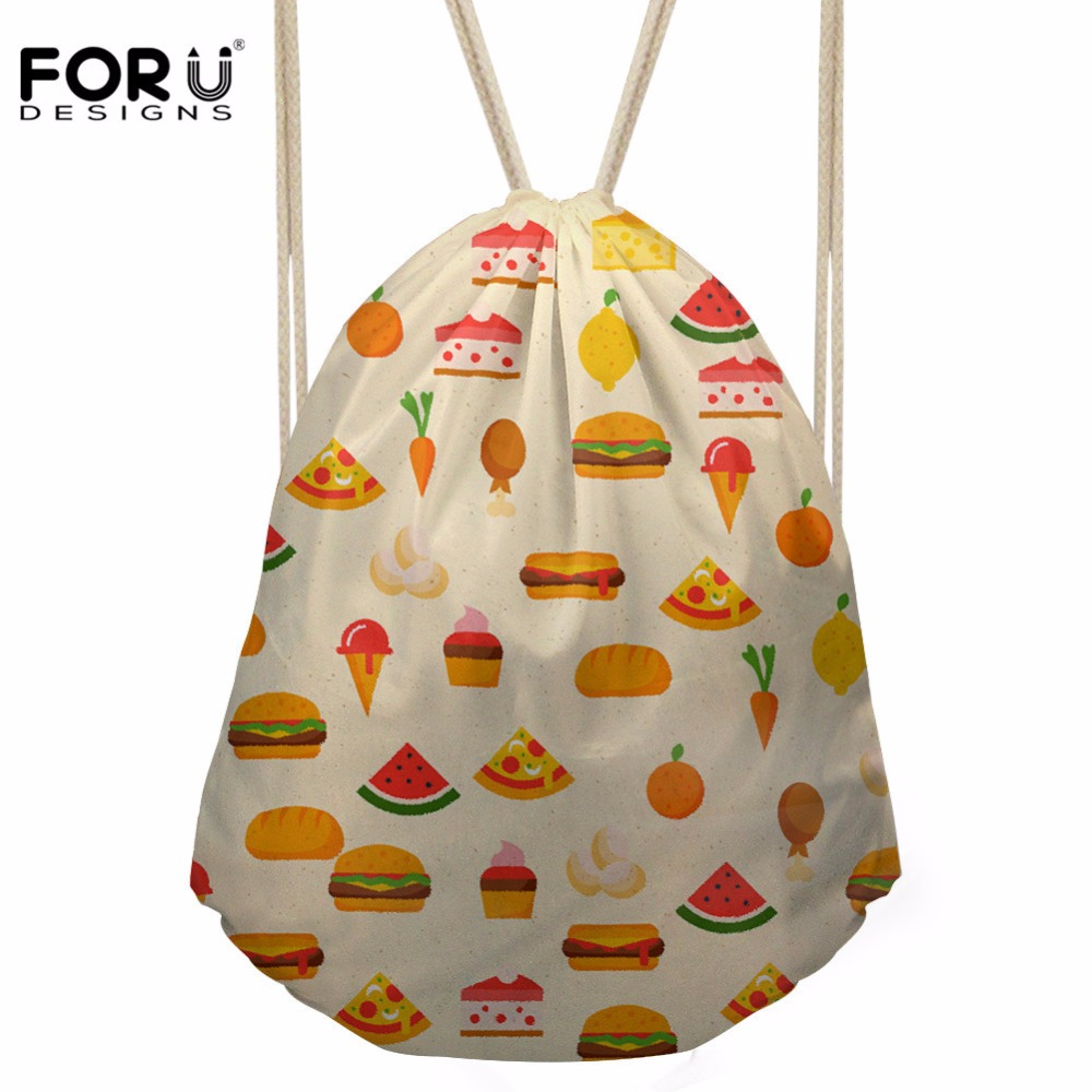 FORUDESIGNS Women's Food Hamburger Prints Drawsting Bag Girls Mini Travel Package For Kids Cartoon Satchel Backpack Mochila