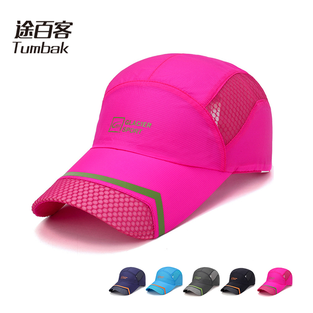 1e06dfe2d6060 TUMBAK Men Women Sports Running Caps Adjustable Outdoors Visor Cap Summer Sun  Hat Breathable Mesh Hat Fitness Hiking Cap E505