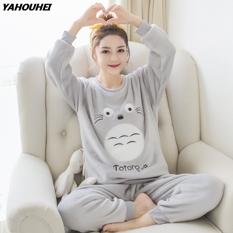 Thick Warm Flannel   Pajama     Sets   for Women 2019 Winter Long Sleeve Coral Velvet Pyjama Girls Cute Cartoon Totoro Homewear Clothing