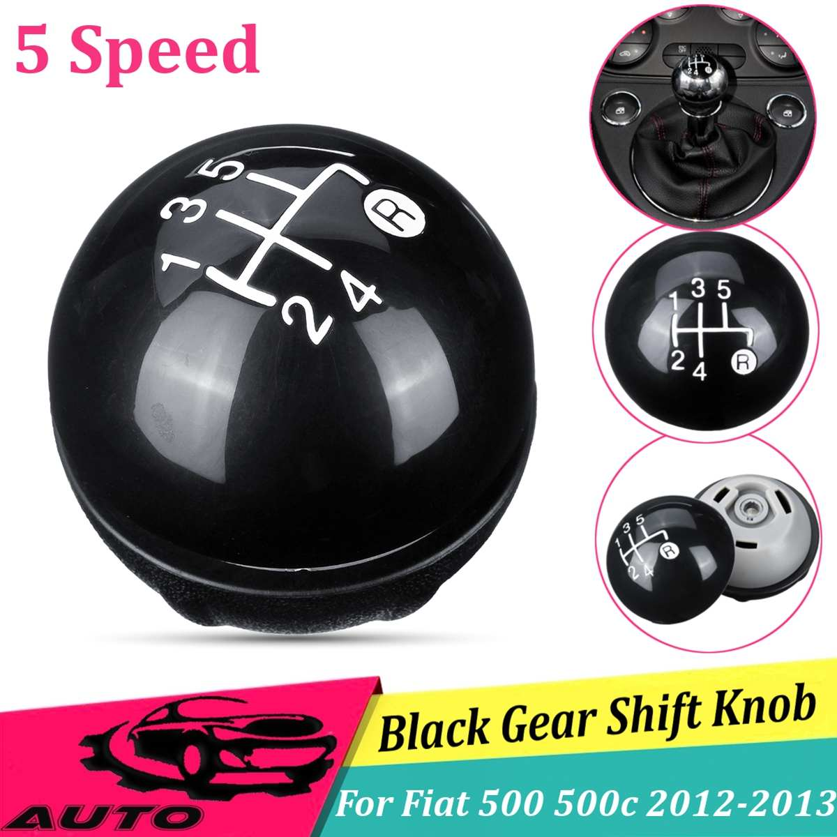 LETAOSK 5 Speed Gear Shift Knob Cover Cap Kit Fit for Fiat 500 500c 2012 2013#55344048